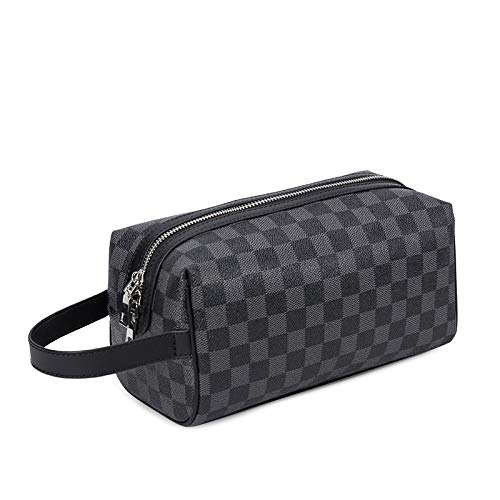 Waterproof Toiletry Bags Leather Travel Cosmetic Bag Organizer Women Makeup Bag Portable Men's Make up Case Beauty Storage Bags GreyBlackPlaid