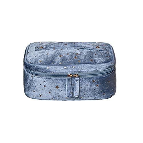 Borsa cosmetica con Motivo a Stella luccicante, Borsa per Il Trucco da Toilette alla Moda in Velluto di Grande capacità,Blue,24 * 17 * 10cm