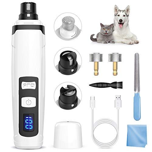 Lima Elettrica per Cani e Gatti Smerigliatrice Elettrico per Cani Gatti per Animali Domestici Ricaricabile a Basso Rumore 2 Llivelli di Velocità con Caricatore USB Testa Intercambiabile e Spazzola