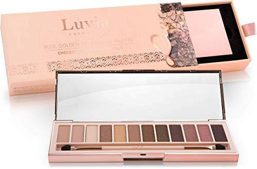 """Luvia Cosmetics - Palette di Ombretti Rosati """"Rose Golden - Endless Nude"""" Palette di 12 Colori Professionali, Matte e Glitter - Kit di Make-up Trucco Professionale, Vegano/Non testato su animali"""
