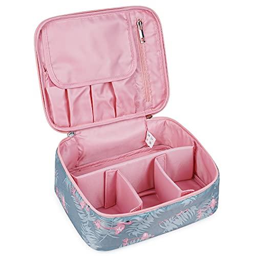Beauty case da viaggio, grande, organizer per trucchi, per donne e ragazze (motivo: A con fenicotteri)