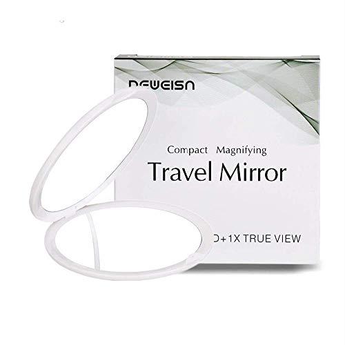DeWEISN Specchio Tascabile Pieghevole, Specchio Compatto Double Face con Normale e 10X Ingrandimento Portatile Specchi Cosmetici Rotazione 180° Rotondo Viaggi Specchi Portatili per Donne (Bianco)