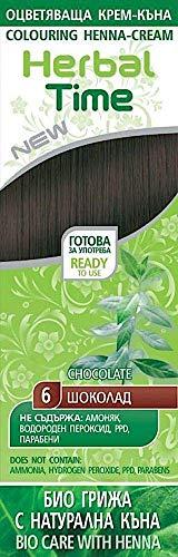 Crema colorante per capelli con estratto di Henné e Ortica - Colore Cioccolato 6, Senza Ammoniaca, Senza Solfato, Senza Parabeni