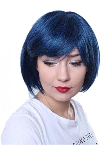 Prettyland corta caschetto BOB taglia frangia capelli veri Parrucca liscia per tutti i giorni Blu-nero C555