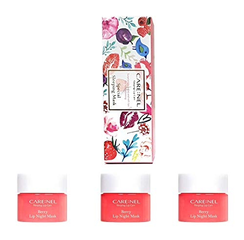 Carenel Korean Cosmetics - Mascherina da notte per labbra, 5 g (set da 3), per mantenere le labbra idratate tutto il giorno
