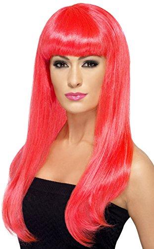 SMIFFYS Smiffy's Parrucca Attraente e Sexy, Fosforescente, Lunga, Liscia con frangetta Donna, Rosa/Fluo, Taglia unica, 42421