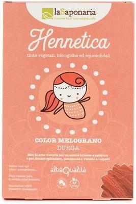 LA SAPONARIA - Hennetica Tinta Vegetale Color Melograno - Durga- Mix di erbe tintorie per un colore intenso e naturale, adatto per i capelli biondi - Effetto volumizzante - Vegano -Equosolidale-100 gr