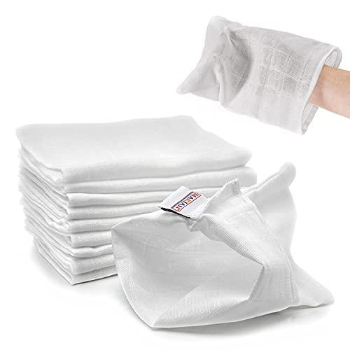 Makian Salviette Neonato - 10 pezzi quadrati di garza neonato 100% cotone, manopole da bagnetto (20x17 cm), Oeko-Tex Standard 100 testato - Bianco