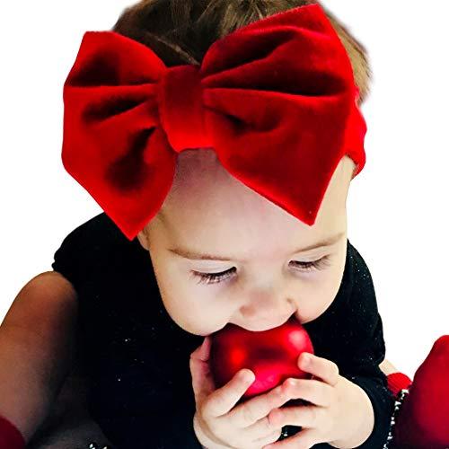 Fascia per capelli neonata (da 3 a 18 mesi)- Fascetta paraorecchie in morbido velluto con fiocco Rosso