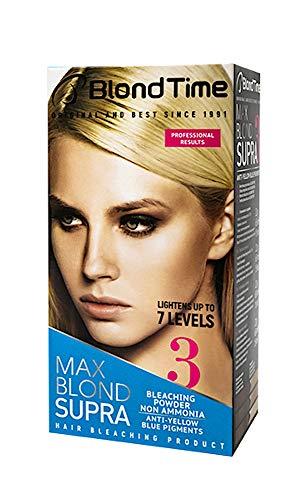 Blond Time Prodotto Decolorante dei Capelli Supra Max Senza Ammoniaca Capelli Candeggianti Fino a 7 Sfumature + Effetto Anti-Giallo.