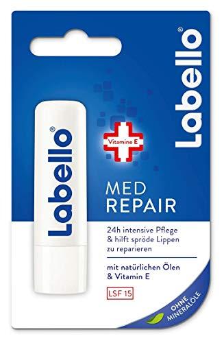 Labello Med Repair - 4,8 g, balsamo per le labbra con crema solare (SPF 15) e vitamina E per la protezione intensiva delle labbra, cura delle labbra senza oli minerali