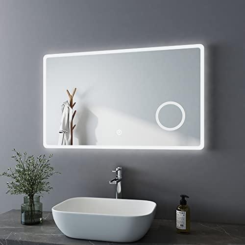Bath-mann Specchio da bagno a LED, 100 x 60 cm, con illuminazione, luce bianca fredda, specchio interruttore touch, ingrandimento 3x, lente d'ingrandimento per trucco, parete orizzontale, 6400 K