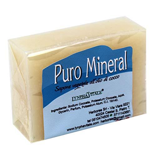 Sapone artigianale antiodore all'allume di rocca - Puro Mineral - 100% naturale e vegetale - Sapone antiodorante e detergente ideale per qualsiasi tipo di pelle