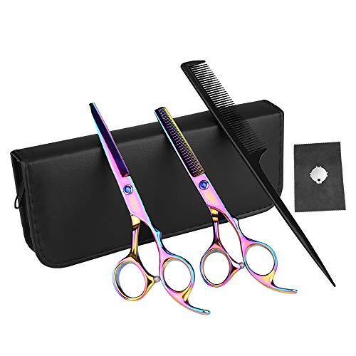 Set di forbici professionali per capelli, 6 pezzi, in acciaio inox, per parrucchieri, parrucchieri, forbici da taglio e diradamento per parrucchieri, per uomo e donna (17,7 cm, 6 pezzi)