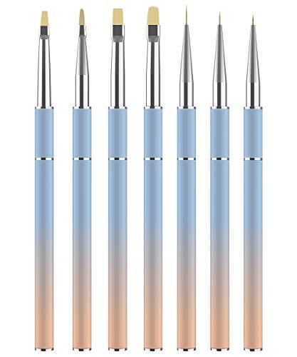 JFUNE 7PCS Pennelli per Unghie Pennello gel unghie, kit de pennelli Smalto per Unghie Art Design Polacco Brush DIY Nail Kit