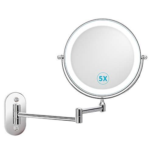 alvorog Specchio Trucco con Luce LED e Ingrandimento 1x / 5X, Specchio Ingranditore da Trucco con Rotazione a 360 °, Luce Regolabile e Spegnimento Automatico per Bagno, Toletta, Hotel - Cromato
