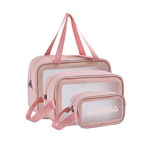 Yolistar Beauty Case da Viaggio, Borse Cosmetiche da Viaggio Trasparente, 3 Pezzi Borsa da Toilette Impermeabile Custodia Cosmetica in PVC, Borse per Cosmetici con Zip Organizzatore per Donna