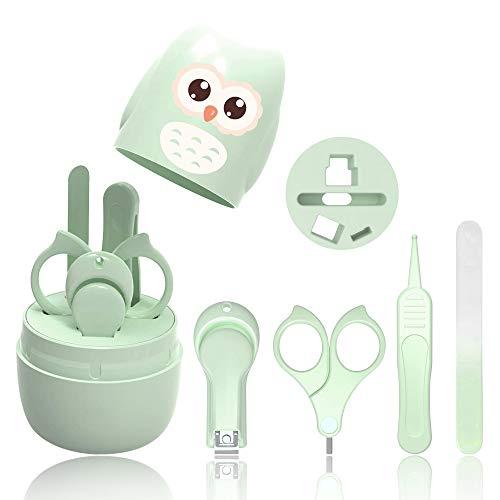 Set Manicure Neonati| Kit 4-in-1 per Baby, con Forbicine, Tagliaunghie, Lima e Pinzetta in Custodia con Gufo | Sicuro, Facile da Usare|Ottima Idea Regalo per Nascita o Battesimo (Verde) (B)