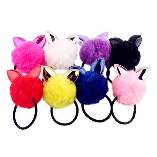 Minkissy, Elastici per capelli con orecchie da coniglio e con pompon per coda di cavallo, multicolore, per donne e ragazze, 8 pezzi