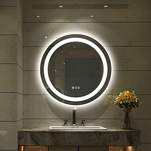 Amorho Specchio da Bagno con Controluce LED,Rotondo 500mm Specchio da Parete,con Interruttore Touch,antiappannamento,regolabile in 3 colori, luminosità bianco caldo e bianco freddo