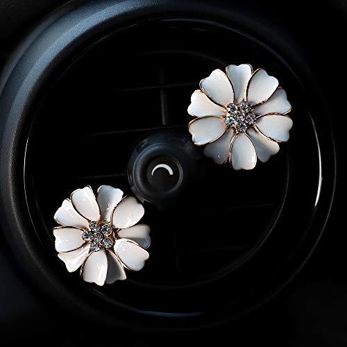 INEBIZ - Ciondolo per auto, con margherite, con strass e fiori, decorazione per interni auto, fragranza creativa e contenitore (bianco)
