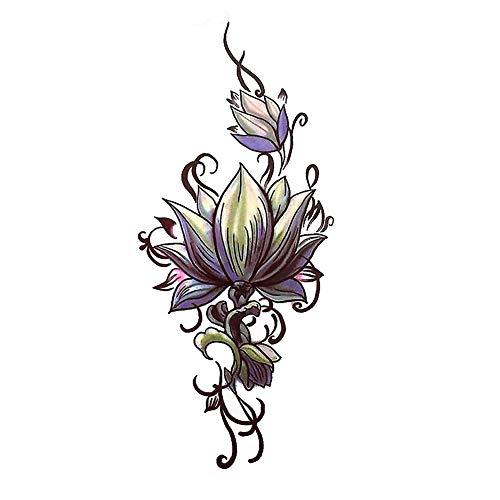JUSTFOX - Tatuaggio temporaneo con fiori di loto, motivo floreale