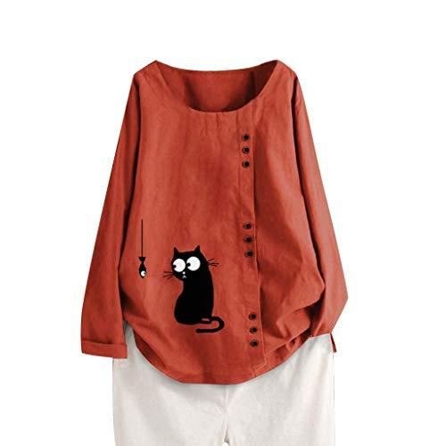 Top Camicia da Donna con Maniche Lunghe in Cotone Caftano di Lino a Maniche Lunghe da Donna (XL,1- Arancia)
