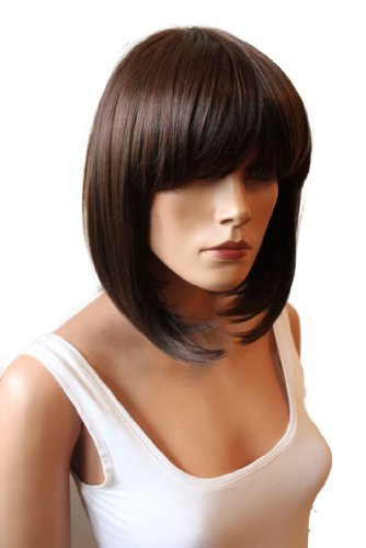 PRETTYSHOP Parrucca a caschetto, capelli in fibra sintetica, resistenti alle alte temperature, come capelli veri