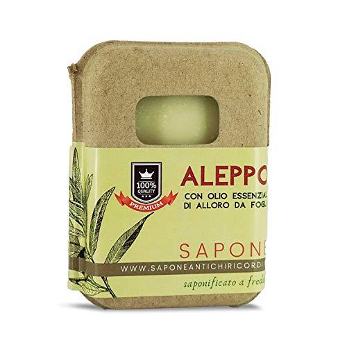 Saponetta Artigianale e 100% Naturale - Sapone per Viso, Mani, Corpo e Capelli - Formula con Olio di Oliva e Olio Essenziale di Foglie di Alloro - 100 g, Sapone di Aleppo