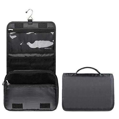 Arvok Beauty Case Donna da Viaggio con Gancio in Metallo, Borsa da Toilette Impermeabile, Multi-compartimenti Toilette Borsa Viaggio per Accessori da Bagno e Trucco Kit (Nero)