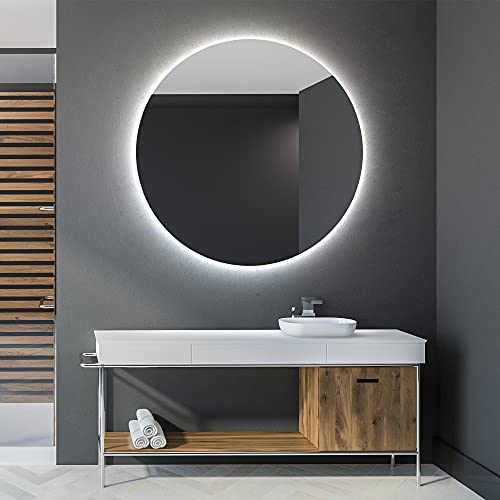Artforma Specchio Rotondo da Bagno Controluce LED | 70 cm | su Misura | Personalizza Specchio Tondo da Parete Bagno | LED Premium | Colore LED - Bianco Freddo/Caldo | L82