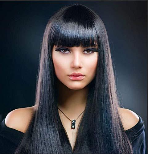Bestung, Parrucca sintetica di alta qualità con frangia, con capelli lunghi e lisci, lunghezza 70 cm, colore: nero