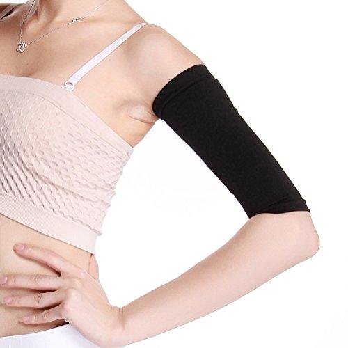ULTNICE Manicotti a compressione dimagrante migliorano le braccia manica sagomate più sottili per lo sport fitness (nero)
