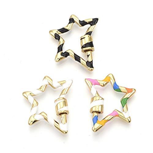Fashewlery 5 ciondoli placcati oro a vite con chiusura a moschettone, portachiavi a stella con smalto 26 x 21 mm, per collane fai da te e realizzazione di gioielli