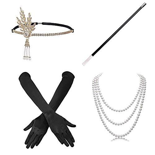 Knowing 4 Pezzi Donna Fancy Dress Accessories Collana Guanti Bocchino per Sigarett Satin Gloves Set per Donna1920s Flapper Costume Dress (Nero)…