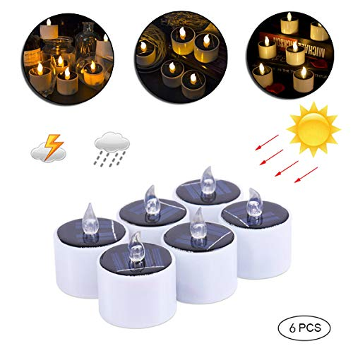 6Pz Candela solare a LED Tea Light Lumini Batteria Candela Solare Candele Luce Gialla Calda senza fiamma, impermeabile, luce gialla, per compleanno, matrimonio, Campeggio, confezione