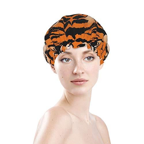 The Bengal Tiger - Cuffia da doccia a doppio strato, per coprire i capelli lunghi e spessi, riutilizzabile, impermeabile