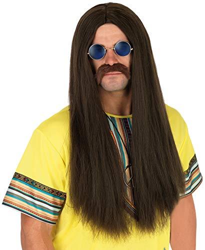 Parrucca per Adulti Hippie Capelli Castani Lunghi Lisci con Occhiali da Uomo Accessorio Costume