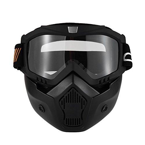 KKmoon Occhiali Moto, Moto Maschera Staccabili Occhiali e Bocca Filtro per Aperto Casco Motocross Sci Snowboard, Nero con Lente Trasparente
