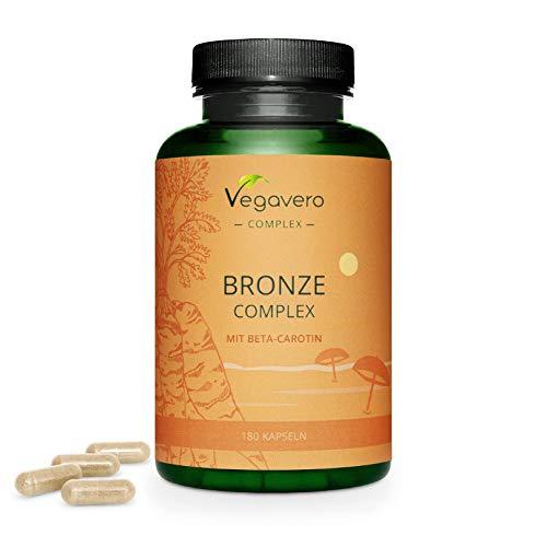 Integratore ABBRONZATURA Vegavero® | 180 capsule | Attivatore Abbronzatura* | con Beta carotene, Licopene, Tocoferolo, Tirosina, Oleuropeina, Flavonoidi, Rame e Zinco | Vegan