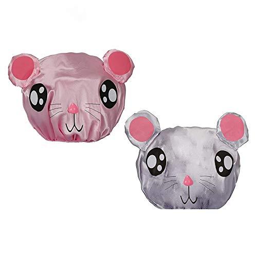 PrettyDate, 2cuffie da doccia impermeabili doppio strato con elastico, per bambini (rosa, grigio)