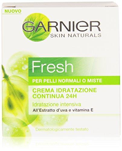 Garnier Fresh Crema Idratazione Continua e Intensiva 24H per Pelli Normali o Miste, Pelle Idratata Tutto il Giorno, 50 ml