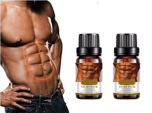 GutterNuy 2Bottiglie di Olio Essenziale per Muscoli Addominali Dimagrante Olio Essenziale Modellante per La Perdita di Peso 10 Ml, Otto Confezioni di Olio per Il Corpo, Crema Addominale (2bottle)