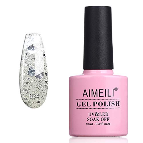 AIMEILI Smalto Semipermente per Unghie in Gel UV LED Smalti per Unghie Colori per Manicure con Brillantini - Marbled (034) 10ml