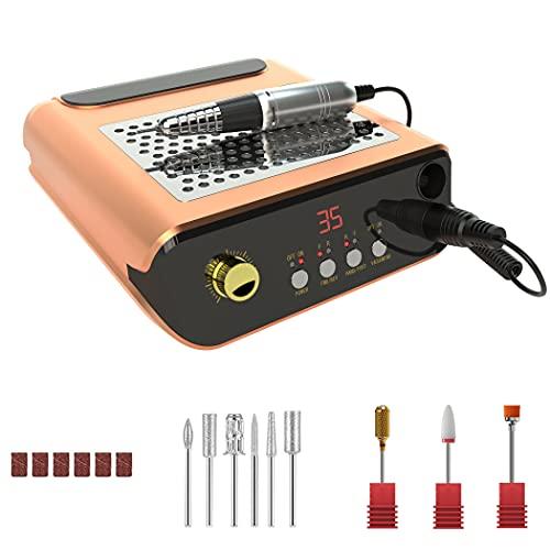 M2 fresa per unghie elettrica professionale in casa con ASPIRAPOLVERE,limetta elettrica per manicure e pedicure di alta velocità regolabile fino a 35000 rpm con il kit