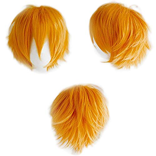 SEGO Parrucca Donna Uomo Arancione Corta Cosplay Halloween Parrucche con Frangia 30cm Capelli Sintetici Lisci Wig per Costume Carnevale Party - Arancione Chiaro