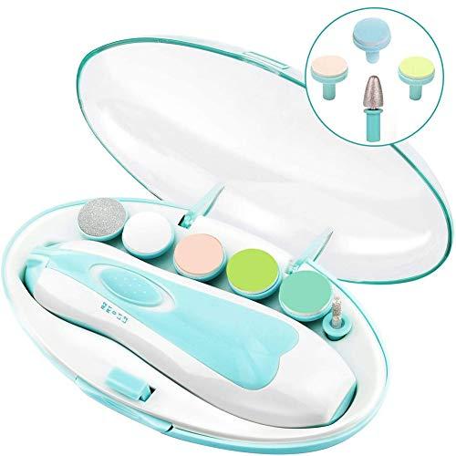 Tagliaunghie Neonato, Lima elettrica per unghie per bambini Tagliaunghie elettrica per bambini 6 in 1 con luce anteriore a LED per Neonati e Adulti Manicure (blu)