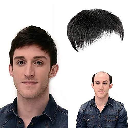 VKTY - Parrucca da uomo corta nera, con treccia nera per capelli umani altamente veri e propri uomini, con protezione traspirante per la perdita dei capelli