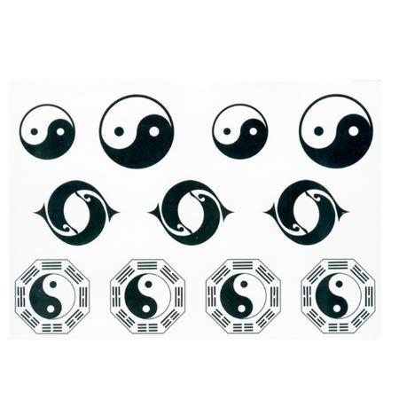 Autoadesivi Impermeabili temporanei del Tatuaggio Falso Tachi Nero Bianco Taiji Yin Yang Strumenti di Trucco di Progettazione