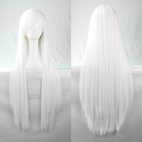 Kissparts 32 'parrucca pura cosplay capelli lisci bianchi con cappuccio e pettine parrucca gratis